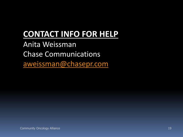 CONTACT INFO FOR HELP