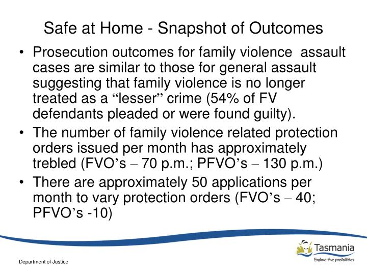 Safe at Home - Snapshot of Outcomes