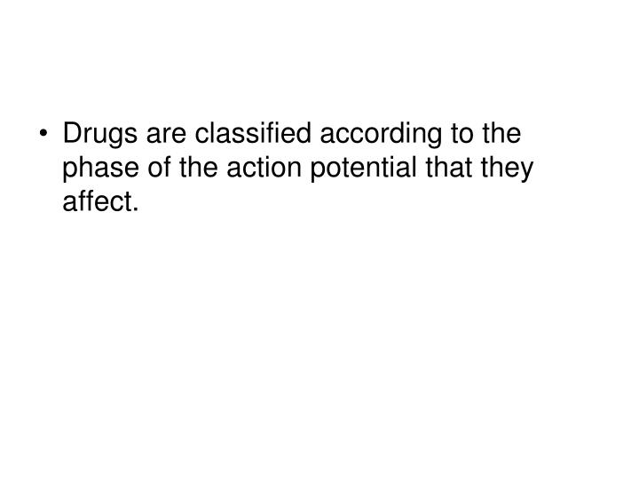 Drugs are classified according to the phase of the action potential that they affect.