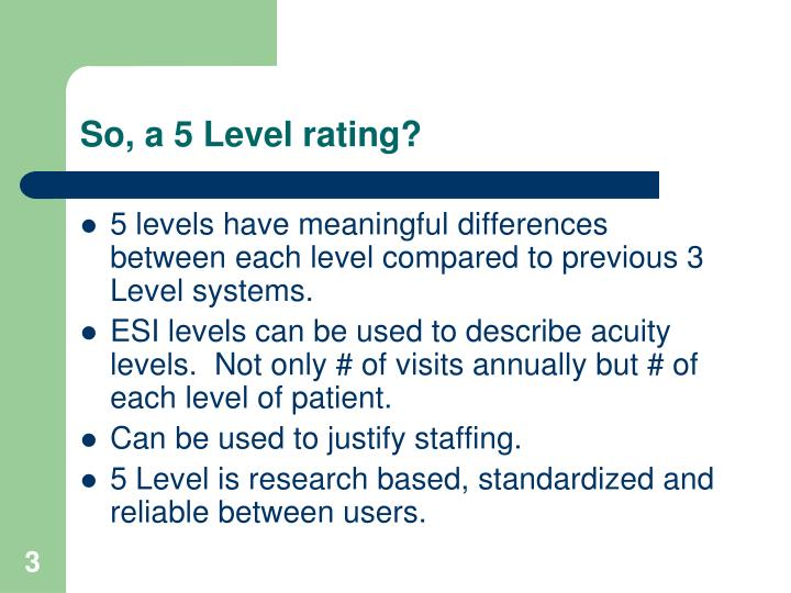 So, a 5 Level rating?