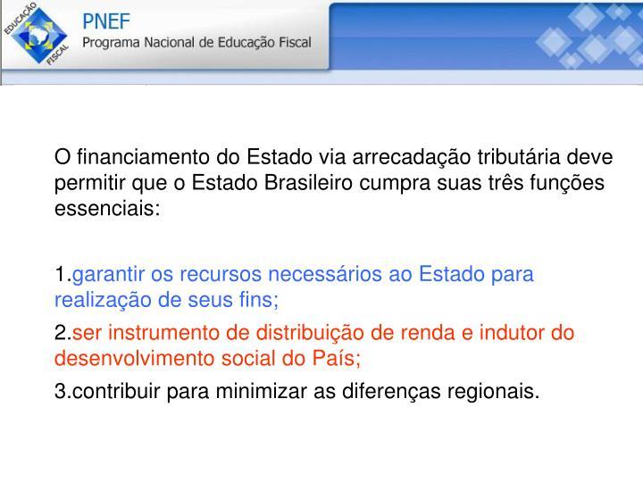 O financiamento do Estado via arrecadação tributária deve permitir que o Estado Brasileiro cumpra suas três funções essenciais: