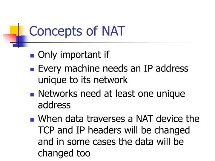 Concepts of NAT
