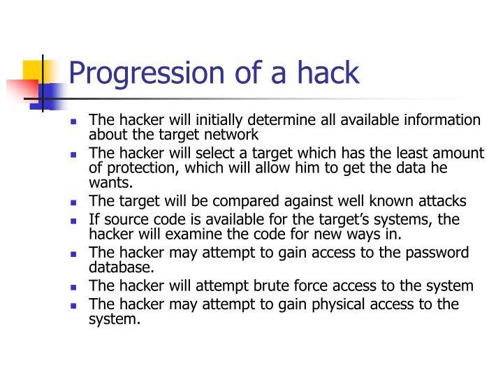 Progression of a hack