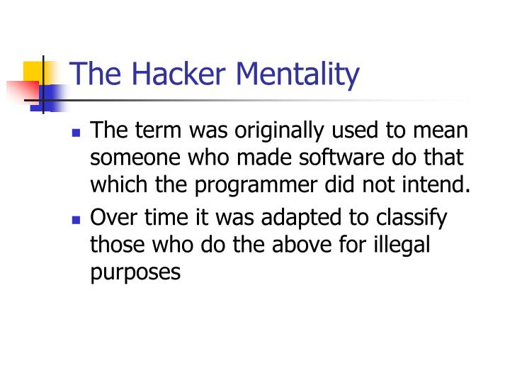 The Hacker Mentality