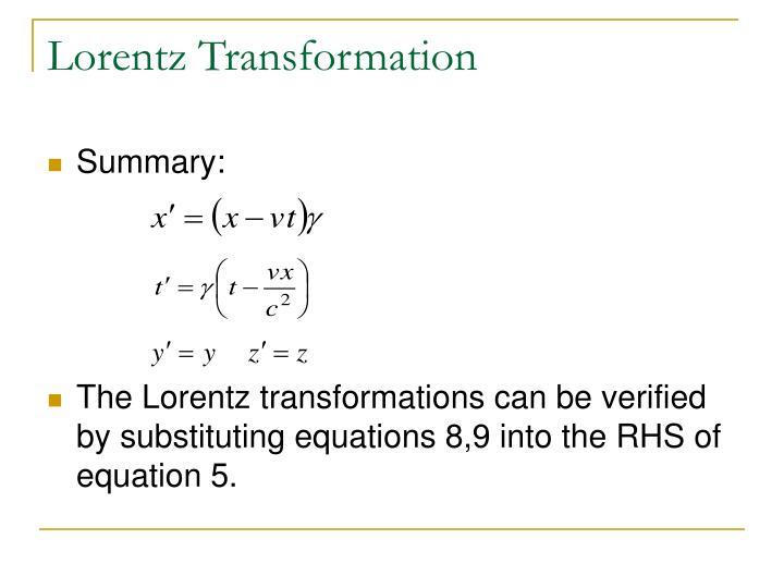 Ppt - Lorentz Transformation Powerpoint Presentation