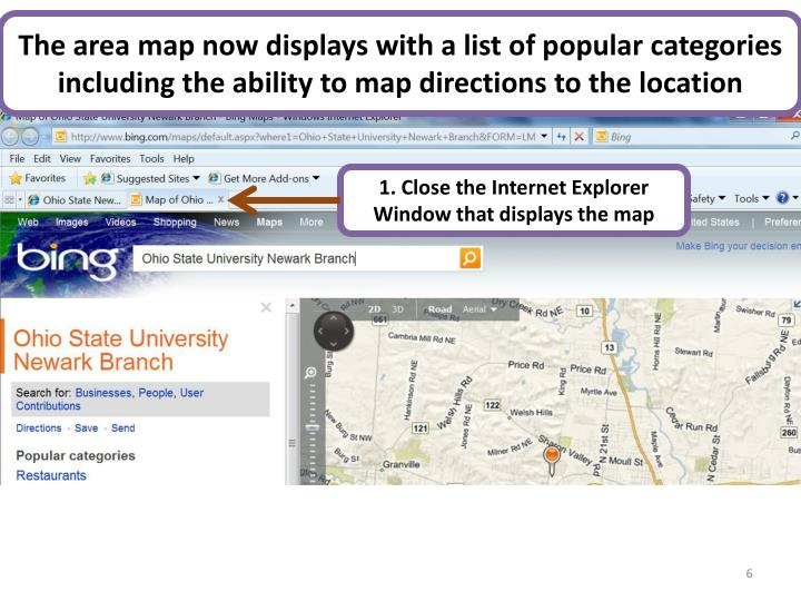 The area map now displays with a list of popular categories including the ability to map directions to the location