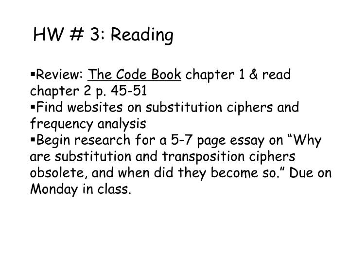 HW # 3: Reading