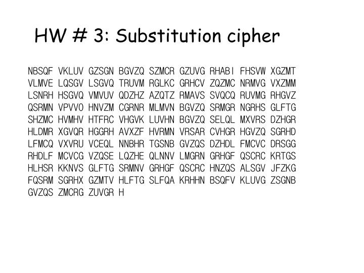 HW # 3: Substitution cipher