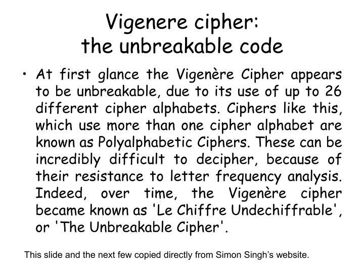 Vigenere cipher: