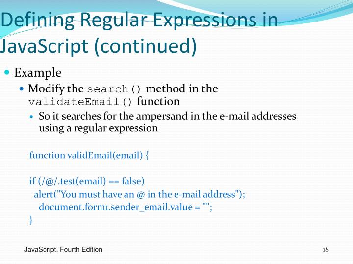Defining Regular Expressions in JavaScript (continued)