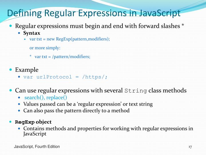 Defining Regular Expressions in JavaScript