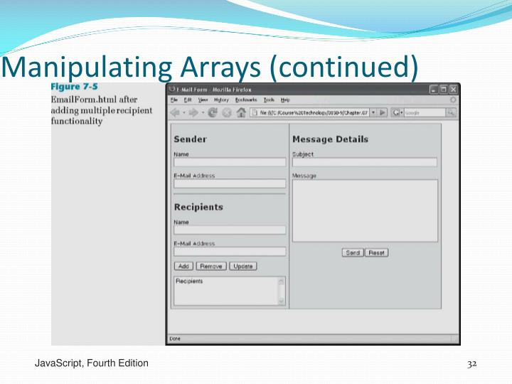 Manipulating Arrays (continued)