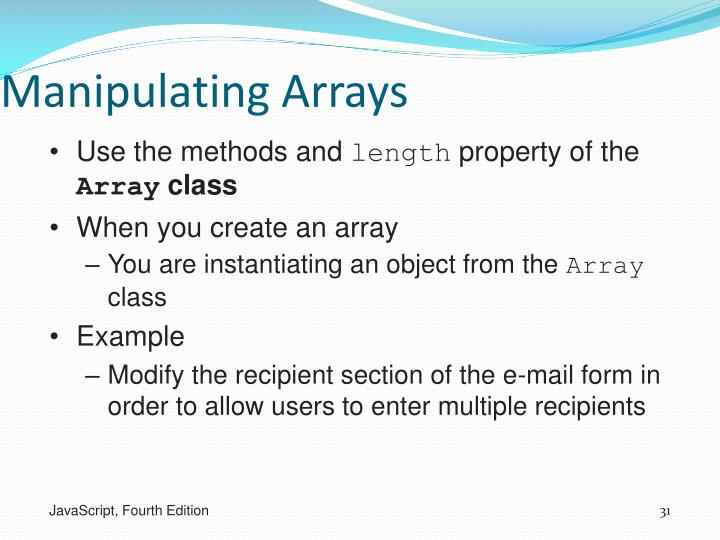 Manipulating Arrays