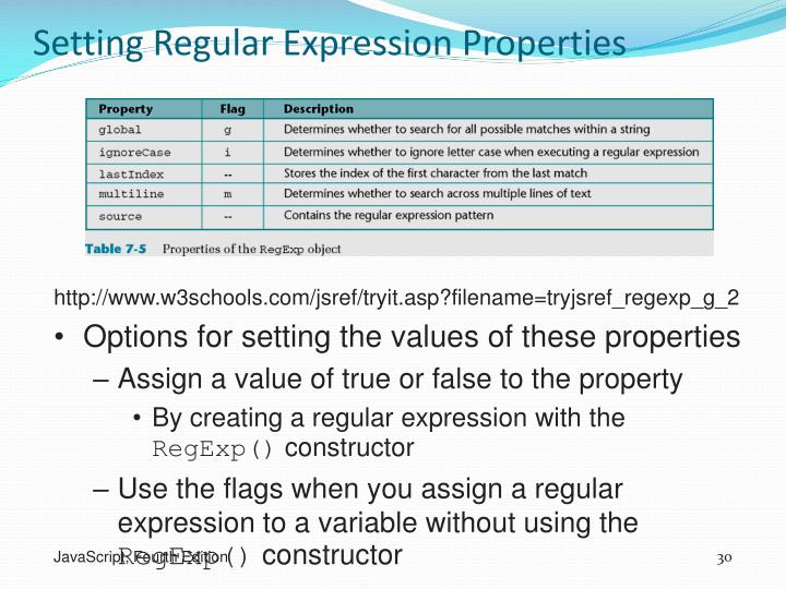 Setting Regular Expression Properties