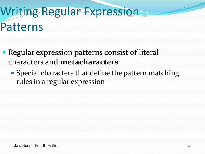 Writing Regular Expression Patterns