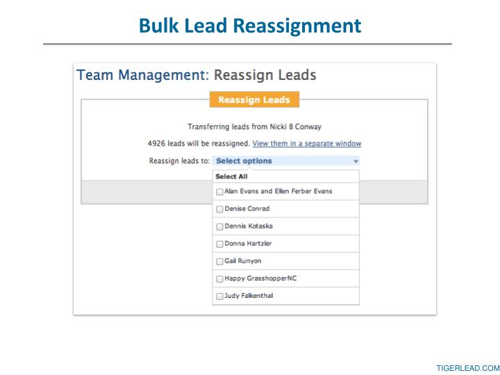 Bulk Lead Reassignment