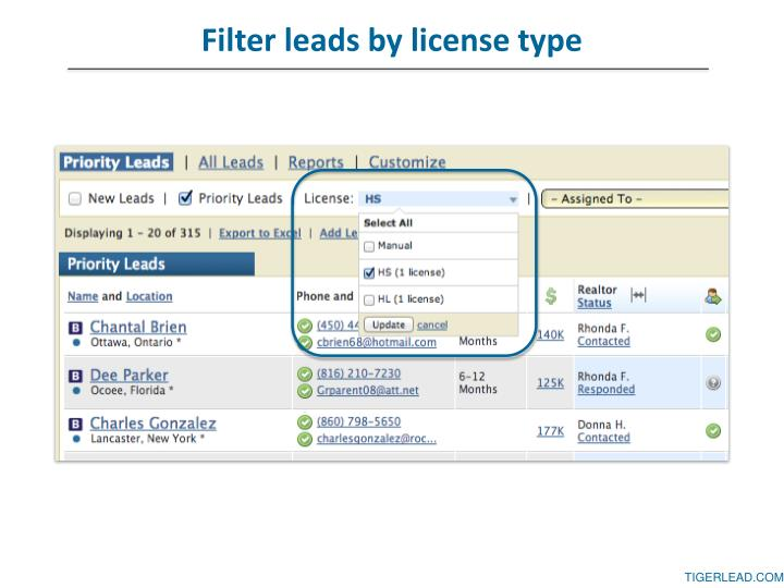 Filter leads by license type