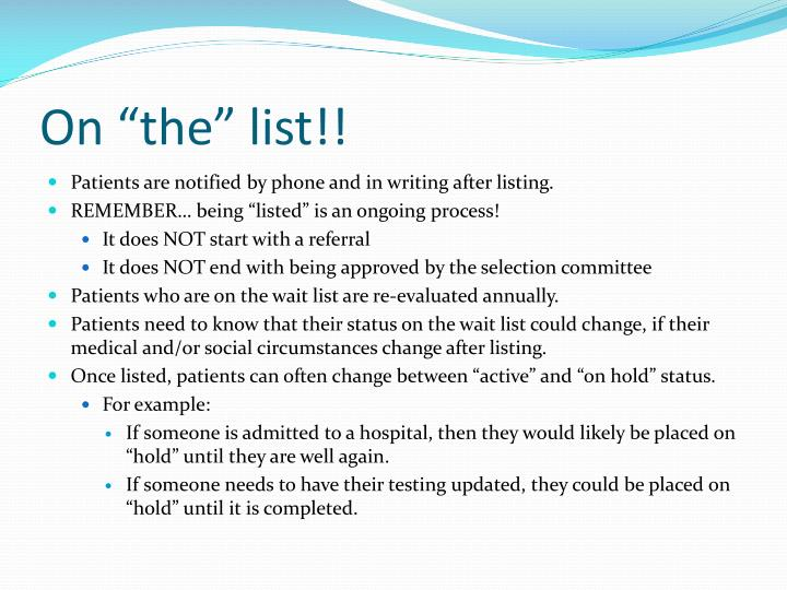 "On ""the"" list!!"