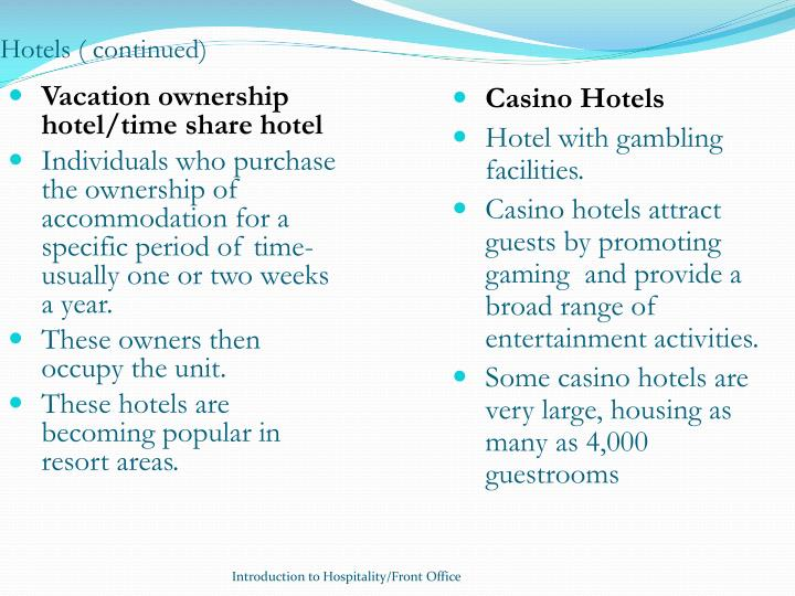 Hotels ( continued)