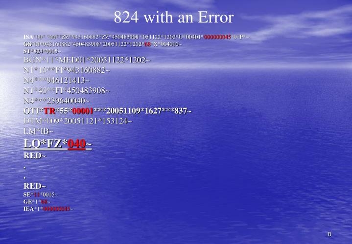 824 with an Error