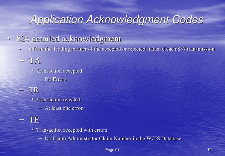 Application Acknowledgment Codes