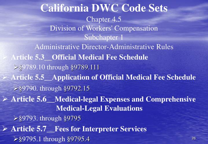 California DWC Code Sets