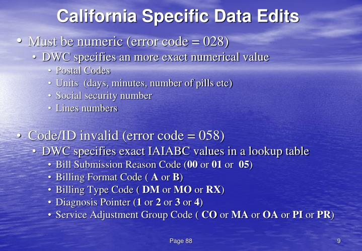 California Specific Data Edits