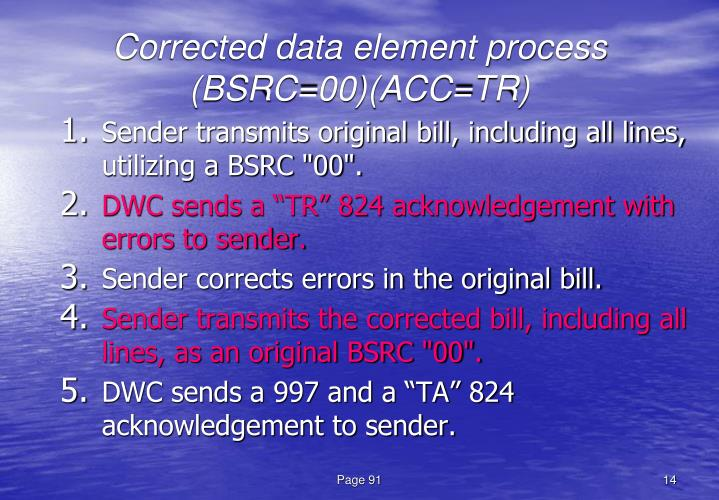 Corrected data element process (BSRC=00)(ACC=TR)