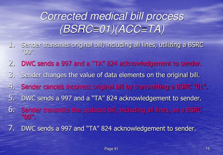 Corrected medical bill process (BSRC=01)(ACC=TA)