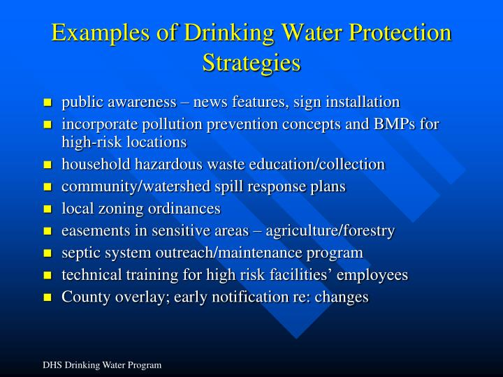 Examples of Drinking Water Protection Strategies