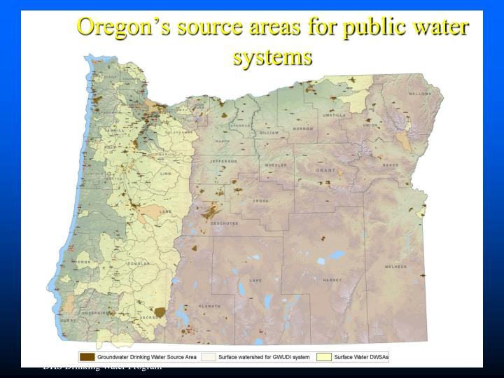 Oregon's source areas for public water systems