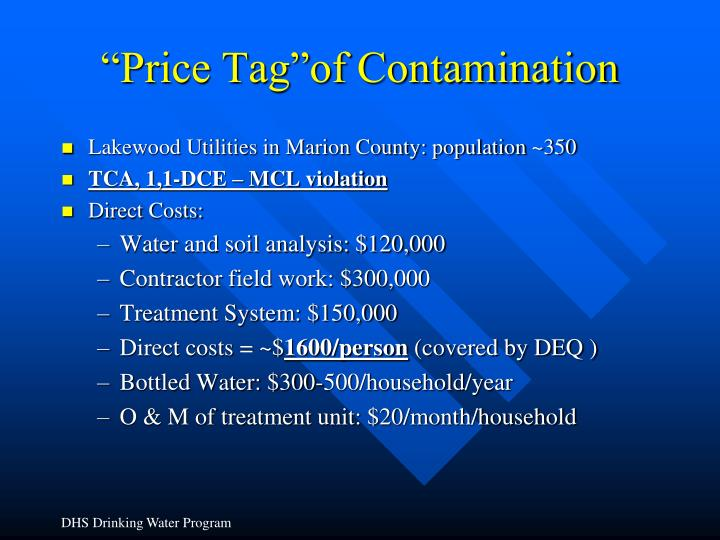 """Price Tag""of Contamination"