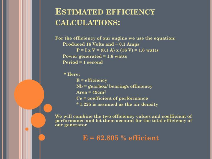 Estimated efficiency calculations:
