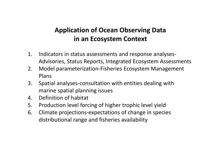 Application of Ocean Observing Data