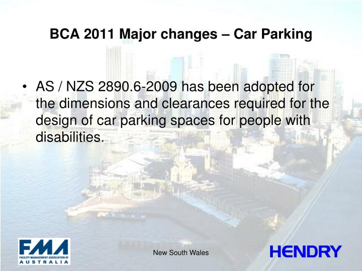 BCA 2011 Major changes – Car Parking