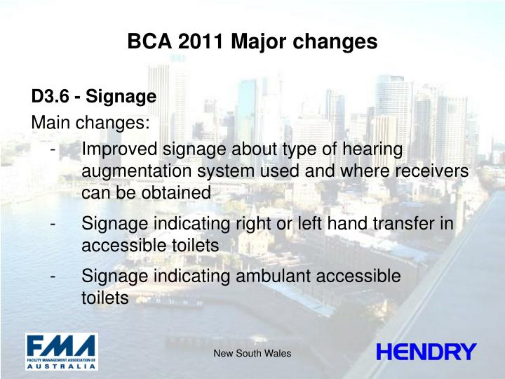BCA 2011 Major changes