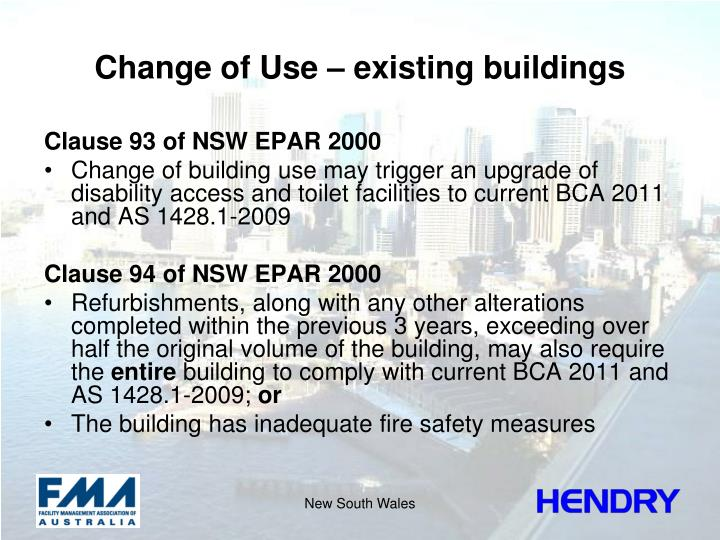 Change of Use – existing buildings