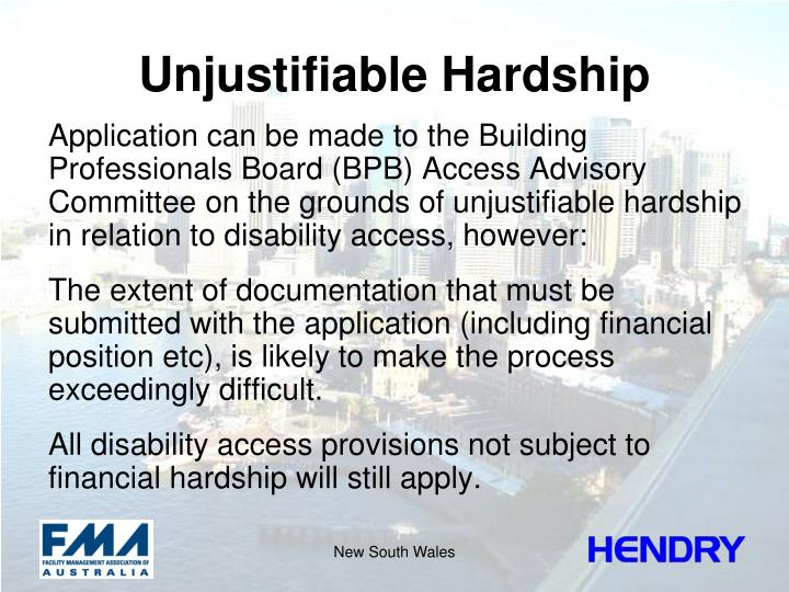 Unjustifiable Hardship