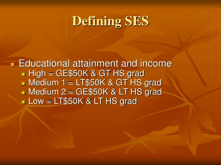 Defining SES