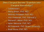 does unequal income translate into unequal knowledge1