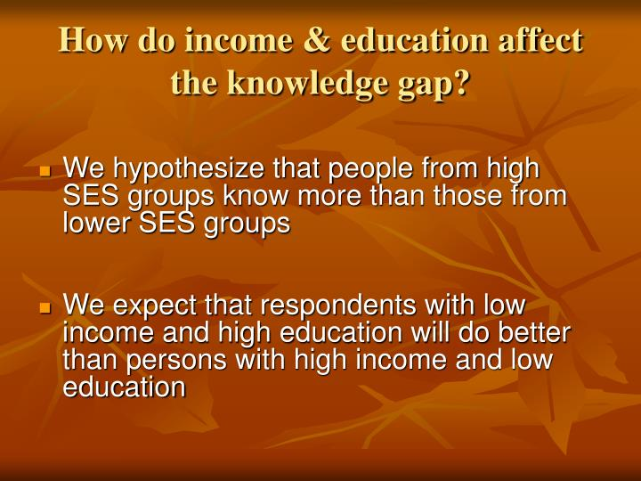 How do income & education affect the knowledge gap?