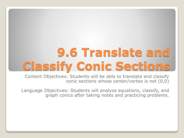 9.6 Translate and Classify Conic Sections