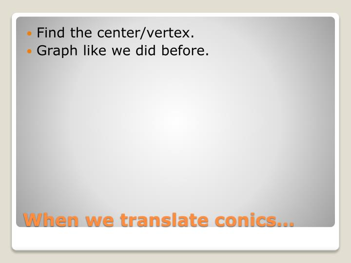 When we translate conics