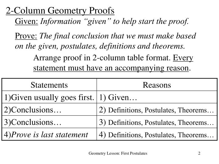 2-Column Geometry Proofs
