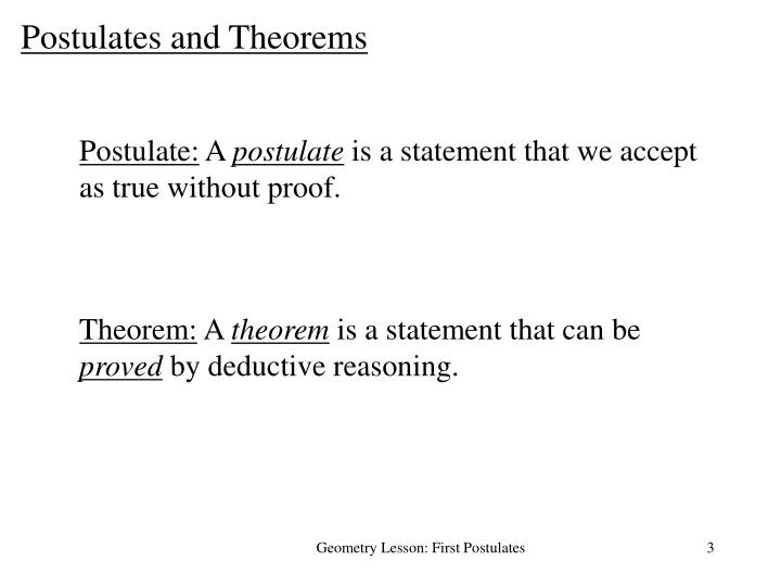 Postulates and Theorems