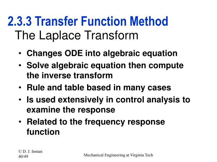 2.3.3 Transfer Function Method