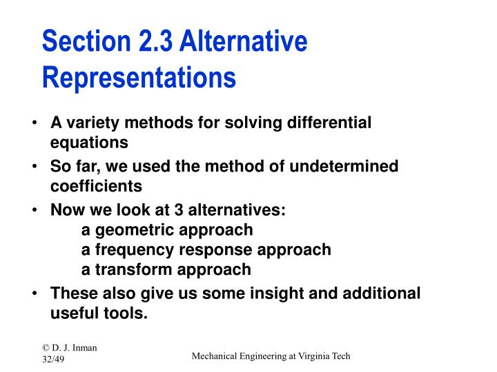 Section 2.3 Alternative Representations