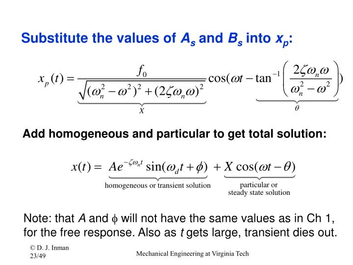 Substitute the values of