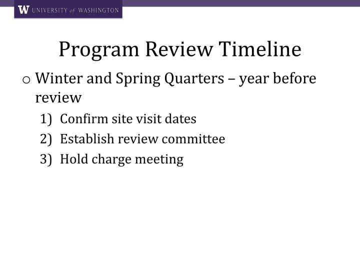 Program Review Timeline