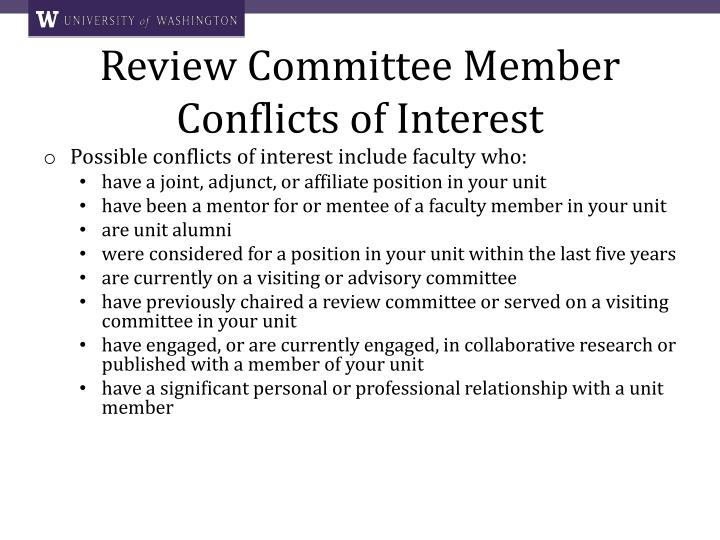Review Committee Member Conflicts of Interest